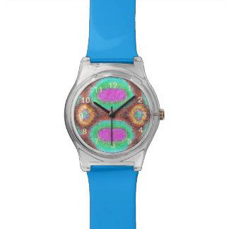Odd multicolored pattern wrist watch