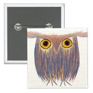 Odd Owl Watercolor ~ Square Pin