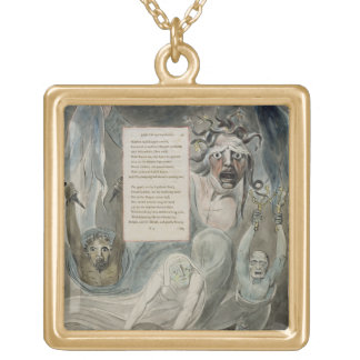 Ode to Adversity, from 'The Poems of Thomas Gray', Square Pendant Necklace