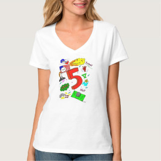 Ode to Five Womens V-Neck T-Shirt