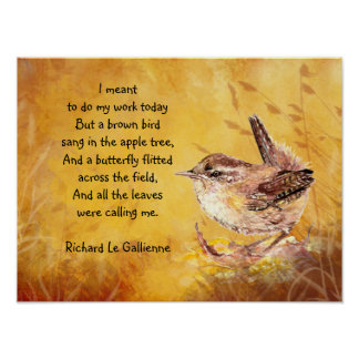 Ode to Spring Poem with Bown Bird Wren Poster