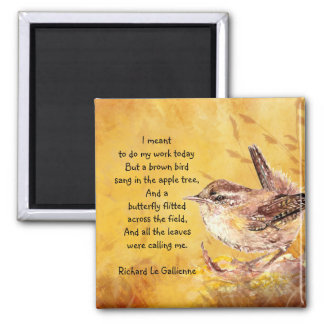 """Ode to Spring"" Watercolor Brown Bird Nature Poem Magnet"