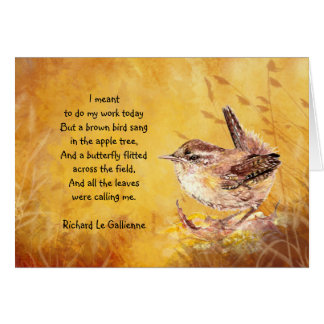 """""""Ode to Spring"""" Watercolor Brown Bird Poem Card"""