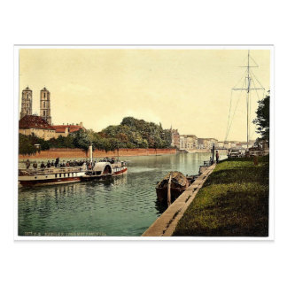Oder River, with Cathedral Island, Breslau, Silesi Postcard