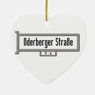 Oderberger Strasse, placa de calle de Berlín Adorno De Cerámica En Forma De Corazón