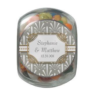odern Art Deco Shell Fan Pattern Scroll Swirls Glass Candy Jar