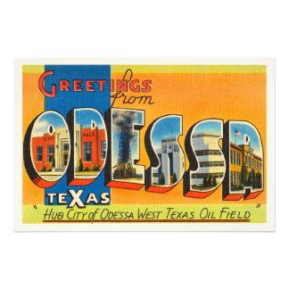 Odessa Texas TX Old Vintage Travel Souvenir Photo Print