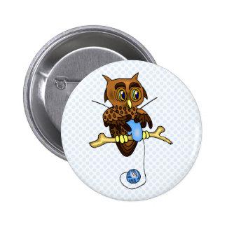 Odetta Owl Pinback Button