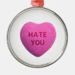 Odíele corazón rosado del caramelo adorno de navidad