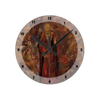 Odilon Redon- Buddha Walking among the Flowers Round Wall Clocks