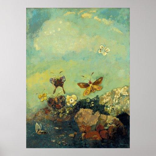 Odilon Redon - Butterflies Poster