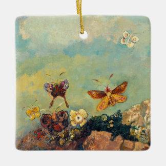 Odilon Redon Butterflies Vintage Symbolism Art Ceramic Ornament