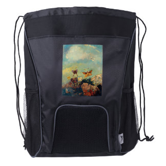 Odilon Redon Butterflies Vintage Symbolism Art Drawstring Backpack