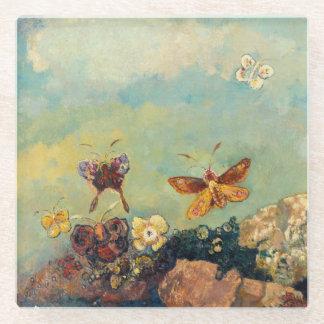 Odilon Redon Butterflies Vintage Symbolism Art Glass Coaster