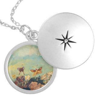 Odilon Redon Butterflies Vintage Symbolism Art Round Locket Necklace