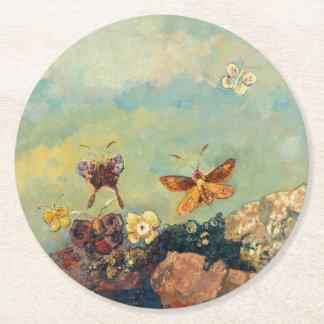 Odilon Redon Butterflies Vintage Symbolism Art Round Paper Coaster