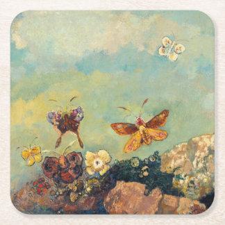 Odilon Redon Butterflies Vintage Symbolism Art Square Paper Coaster