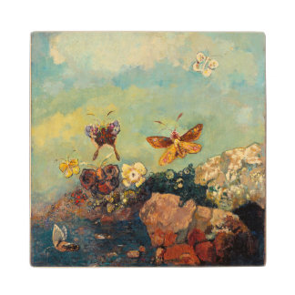 Odilon Redon Butterflies Vintage Symbolism Art Wooden Coaster