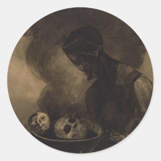 Odilon Redon- Cauldron of the Sorceress Classic Round Sticker