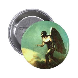 Odilon Redon- el hombre con alas (el ángel caido) Pin Redondo 5 Cm