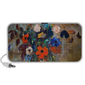 Odilon Redon - florero con las flores y las maripo Portátil Altavoces
