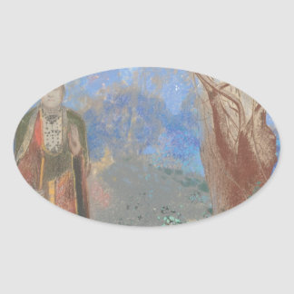 Odilon Redon: Le Bouddha, The Buddha Oval Sticker