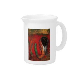 Odilon Redon- Onnes (Christ and the Serpent) Beverage Pitchers