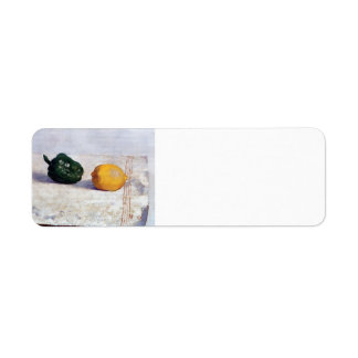 Odilon Redon- Pepper & Lemon on a White Tablecloth Return Address Label
