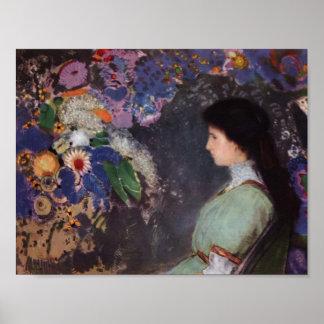 Odilon Redon- Portrait of Violette Heymann Print