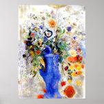 Odilon Redon - ramo grande en florero azul en Póster