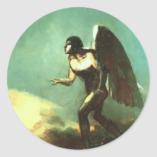 Odilon Redon- The Winged Man (The Fallen Angel) Round Stickers