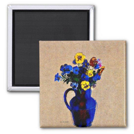 Odilon Redon: Vase of Flowers-Pansies Magnet