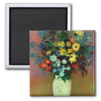 Odilon Redon's Vase with Flowers (1914) 2 Inch Square Magnet