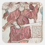 Odin, con sus dos cuervos, Hugin y Munin Calcomanía Cuadradas Personalizadas
