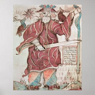 Odin, con sus dos cuervos, Hugin y Munin Póster