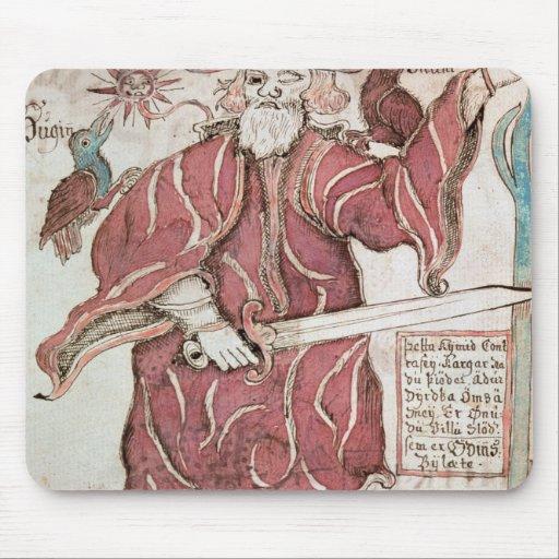 Odin, con sus dos cuervos, Hugin y Munin Alfombrilla De Ratones