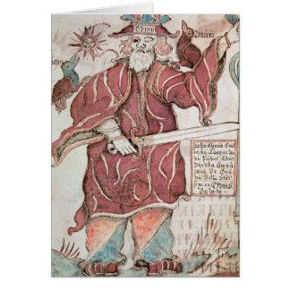 Odin, con sus dos cuervos, Hugin y Munin Felicitacion