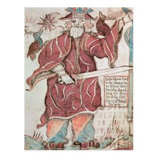 Odin, con sus dos cuervos, Hugin y Munin Postal