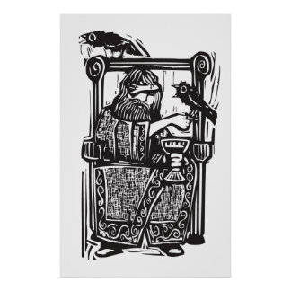 Odin on Throne Poster