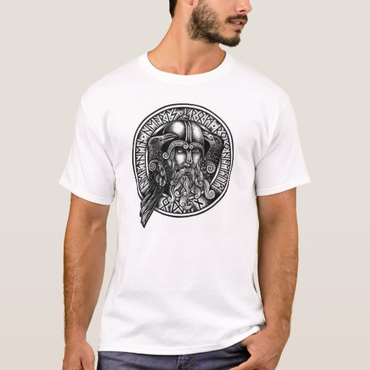 Odin Rune Shield Black & White T-shirt