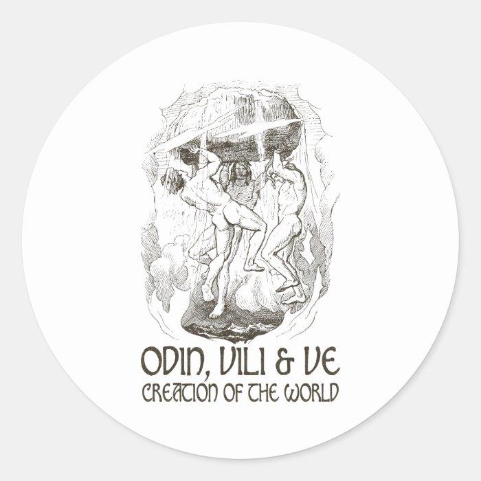 Odin, Vili and Ve Classic Round Sticker