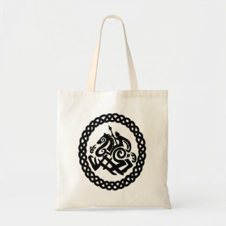 Odin with Slepinir within a Celtic knot circle. Tote Bag