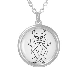Odin's Mask Tribal (black outlined) Round Pendant Necklace