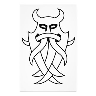 Odin's Mask Tribal (black outlined) Stationery