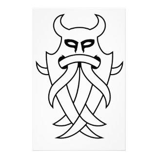 Odin's Mask Tribal (black outlined) Stationery