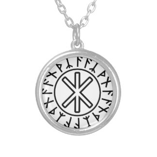 Odin's Protection No.2 (black) Round Pendant Necklace