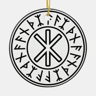 Odin's Protection No.2 (black) Double-Sided Ceramic Round Christmas Ornament