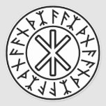 Odin's Protection No.2 (black) Classic Round Sticker