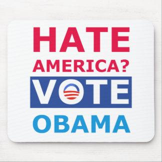 ¿Odio América? Voto Obama (Obama anti) Alfombrilla De Ratones