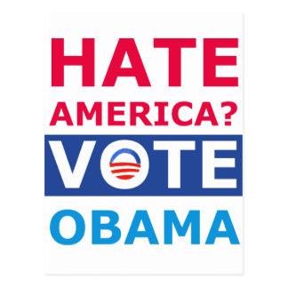 ¿Odio América? Voto Obama (Obama anti) Postal